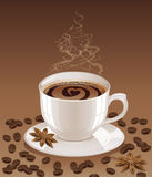 Hintergrund mit heißem Kaffee Stockbild