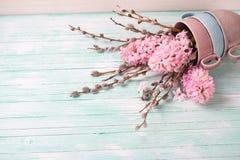 Hintergrund mit Hyazinthen und Weidenblumen und leerem Platz f Stockfotografie
