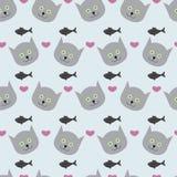 Hintergrund mit Kätzchen, Fischen und Herzen Stockbilder