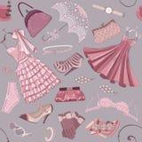 Hintergrund mit Kleidung der Frauen Lizenzfreie Stockbilder
