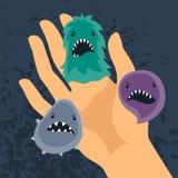 Hintergrund mit kleinen verärgerten Viren und der Hand vektor abbildung