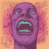 Hintergrund mit Kopf des schreienden Mannes stock abbildung