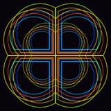 Hintergrund mit kreativen Rahmen, buntem Muster, Kreuz und Bogen lizenzfreie abbildung