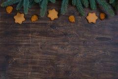 Hintergrund mit Lebkuchen Weihnachtsplätzchen und Tannenbaumniederlassungen lizenzfreie stockfotos