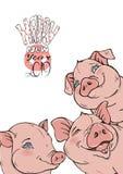 Hintergrund mit lustigen Schweinen und ein Wunsch während eines guten Rutsch ins Neue Jahr Stockbild
