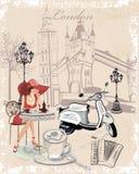 Hintergrund mit Mädchen und dem englischen Anblick stock abbildung