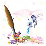 Hintergrund mit Malerpinsel Lizenzfreie Stockbilder