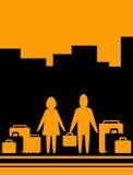 Hintergrund mit Mann und Frau mit Beutel Stockfotografie