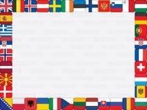Hintergrund mit Markierungsfahnen der europäischen Länder Stockfotos