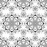 Hintergrund mit mehndi Dekorationseinzelteilen buta Spitze Blumenhennastrauches nahtlosen in der indischen Art Stockbilder