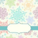 Hintergrund mit mehrfarbigen Schneeflocken Stockbild