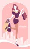 Hintergrund mit Modemädchen und -Einkaufstaschen Lizenzfreies Stockfoto