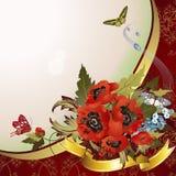 Hintergrund mit Mohnblumen Stockbild