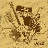 Hintergrund mit Musikinstrumenten Stockbilder