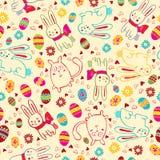 Hintergrund mit Osterhasen und Eiern Stockbilder