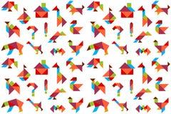 Hintergrund mit Puzzlespielen, Tiere, Vögel, Schiff, Stockfoto
