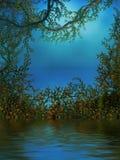 Hintergrund mit Reben, Rosen und einem Teich Stockfoto