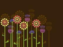 Hintergrund mit Retro- Blumen Stockbild
