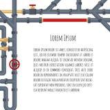 Hintergrund mit Rohren und Rohrleitungen auf Weiß und Platz für Ihren Text Flache Elemente von Wasserschläuche Klempnerarbeit FO  Lizenzfreies Stockfoto