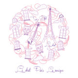 Hintergrund mit rosa Musik und Ausflug Eiffel lizenzfreie abbildung
