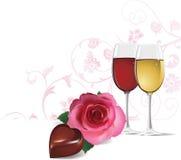 Hintergrund mit Rosafarbenem, Wein und Schokolade. lizenzfreie abbildung