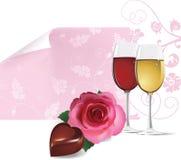 Hintergrund mit Rosafarbenem, Wein und Schokolade. stock abbildung