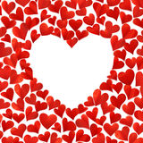 Hintergrund mit roten Herzen in 3D, leerer Raum für Text in der Herzform, lokalisiert auf weißem Hintergrund, Glückwunschkarte, V Lizenzfreies Stockfoto