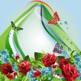 Hintergrund mit roten Rosen und Cornflowers Stockfotografie