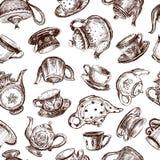 Hintergrund mit Schalen und Teekannen Stockfoto