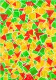 Hintergrund mit Schichten Kreisen, Dreiecken und Quadraten Stockbild