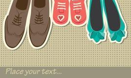 Hintergrund mit Schuhen Stockfoto