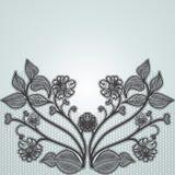 Hintergrund mit schwarzen Spitzeblumen Für Design von Grußkarten und von Hochzeitseinladungen Stockbilder