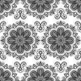 Hintergrund mit Schwarzweiss--mehndi nahtlosen Spitze buta Dekorationseinzelteilen auf weißem Hintergrund Lizenzfreie Stockfotografie