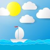 Hintergrund mit Sonne, Wolken und einem Boot Stockbild