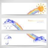 Hintergrund mit Sonnenregenschirm, Wolken, Regen und Regenbogen vektor abbildung