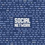 Hintergrund mit Sozialnetzschlüsselwörtern Stockfotos
