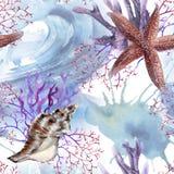 Hintergrund mit Starfish Nahtloses Muster lizenzfreies stockbild