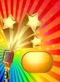Hintergrund mit Stern und Strahl des Mikrofongold (en) Stockfoto