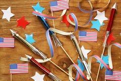 Hintergrund mit Symbolen von Amerika - Feier vom 4. Juli Stockbild