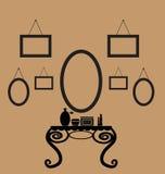 Hintergrund mit Tabelle für Kosmetik Stockfotos