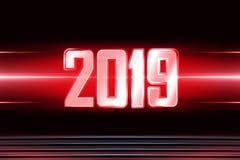 Hintergrund mit transparenten Tabellen 2019 für neues Jahr stock abbildung