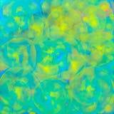 Hintergrund mit unscharfer Beschaffenheit von gl?henden transparenten Spiralen oder von farbigen gelben Kreislinien f?r Gewebe, P lizenzfreie abbildung
