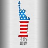 Hintergrund mit US-Banknoten, die vom blauen Himmel auf dem grünen Land fallen S Flagge und Freiheitsstatue Juli 4 Unabhängigkeit Stockfoto