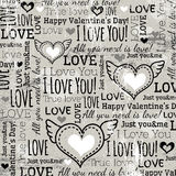 Hintergrund mit Valentinsgrußherzen und Wunschtext,  Stockbild