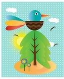 Hintergrund mit Vogel, Blumen und Baum Stockfotografie