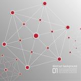 Hintergrund mit Volumenpapier mit den roten Punkten untereinander verbunden Lizenzfreie Stockbilder