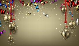Hintergrund mit Weihnachtsbällen und -serpentin Lizenzfreies Stockbild
