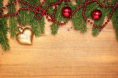 Hintergrund mit Weihnachtsgrenze Stockbilder