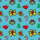 Hintergrund mit Weihnachtssymbole Pixelkunst Blaufarbe Stockbilder