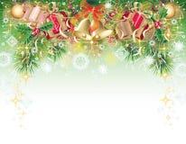 Hintergrund mit Weihnachtssymbolen Stockfotografie